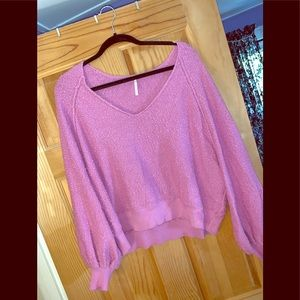 Cropped pink Free People sweater